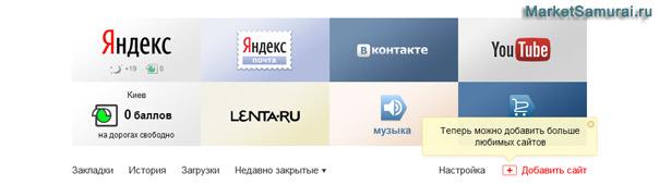 Панель быстрого запуска Яндекс.Браузера