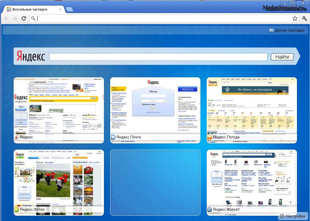 Визуальные закладки для Google Chrome