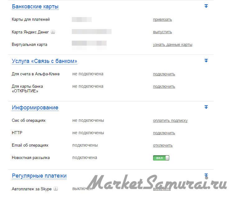 Настройки карт на «Яндекс Деньги»