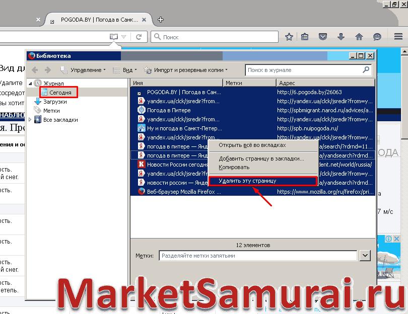 Порядок удаления веб-страниц в Mozilla