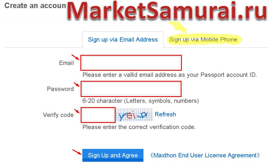 Поля ввода e-mail, пароля и кода проверки