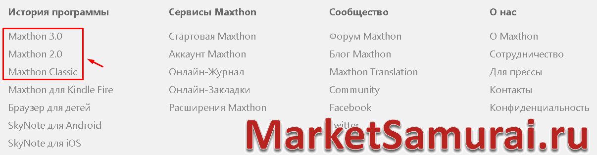 Кнопки скачивания старых версий Maxthon