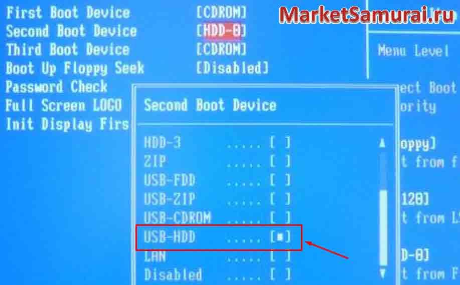 Отмечаем в BIOS «USB-HDD»