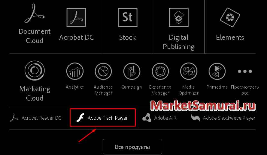 Кнопка «Adobe Flash Player»